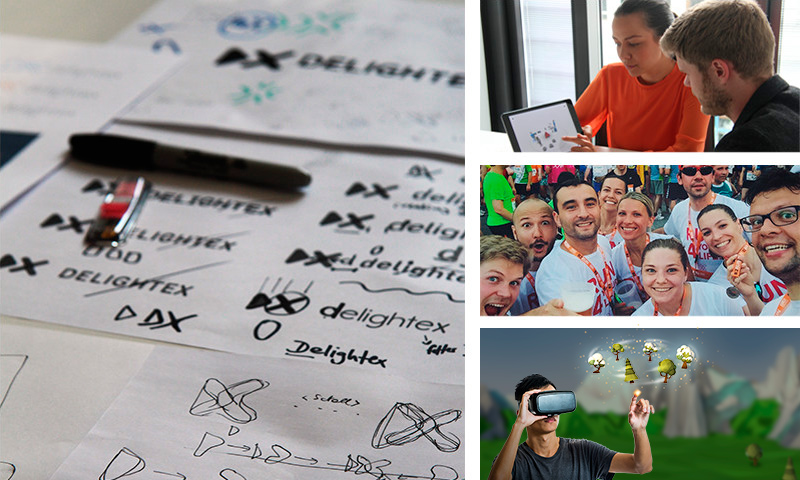 Image of design sketches and the Delightex team having fun
